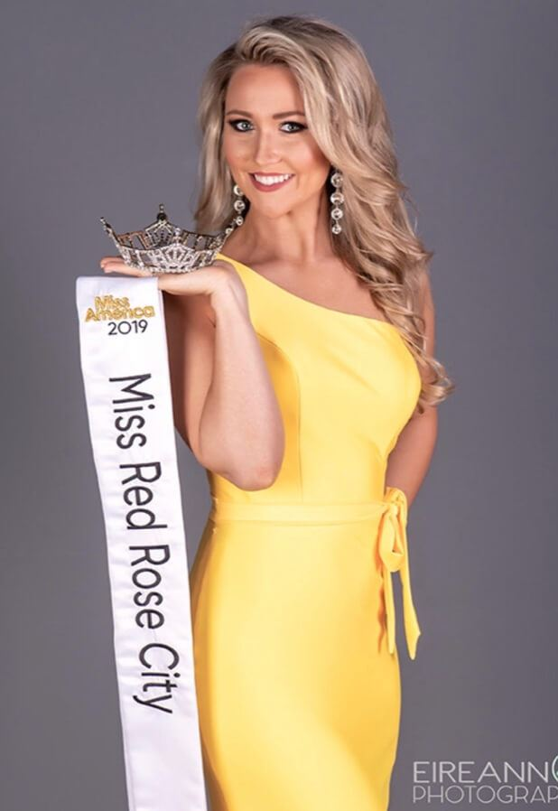 Blonde Girl wearing Yellow Pageant Dress. Miss Red Rose City