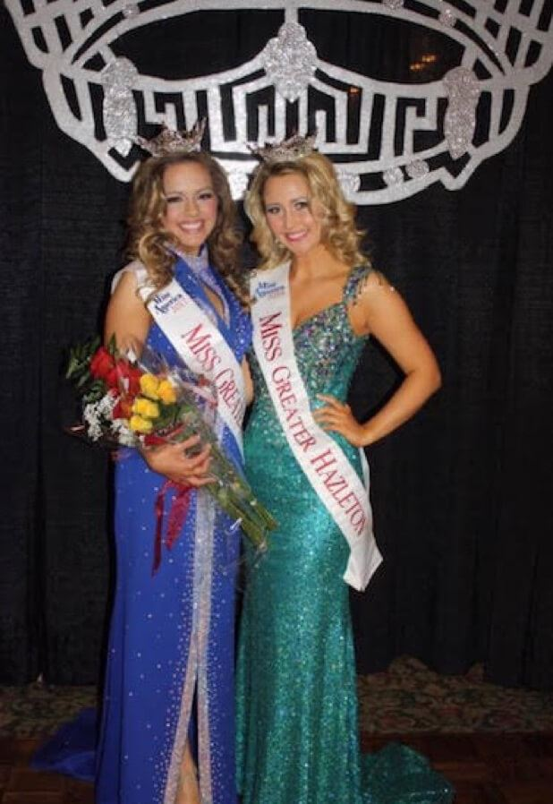 2 Girls wearing Pageant Dresses taking apart on Greater Hazleton Contest