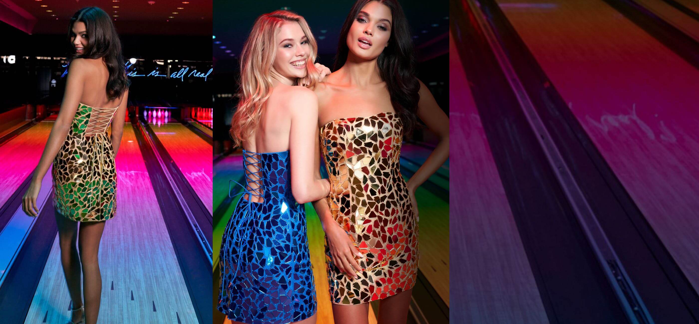 Blonde & Brunette Girls in Sherri Hill Homecoming Dresses are playing bowling. Desktop Image